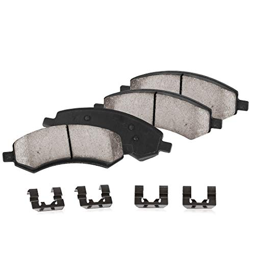 FRONT Performance Grade Quiet Low Dust [4] Ceramic Brake Pads + Dual Layer Rubber Shims + Hardware (2009 Dodge Dakota Sxt Crew Cab 4wd)