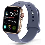 NUKELOLO Sport Band Compatible with Apple Watch 42MM 44MM, Soft Silicone Replacement Strap Compatible for Apple Watch Series 4/3/2/1 [M/L Size in Lavender Gray Color] Larger Image