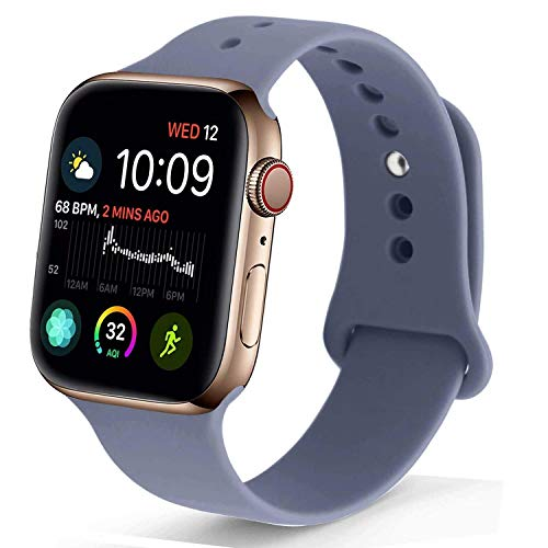 NUKELOLO Sport Band Compatible with Apple Watch 42MM 44MM, Soft Silicone Replacement Strap Compatible for Apple Watch Series 4/3/2/1 [M/L Size in Lavender Gray Color]