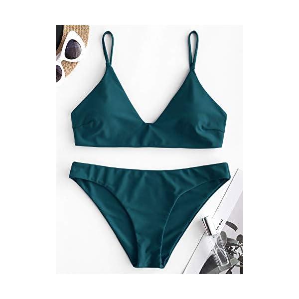 ZAFUL Bikini da Donna in 2 Pezzi Costume da Bagno Foglia Tropicale Bralette Imbottita 4 spesavip