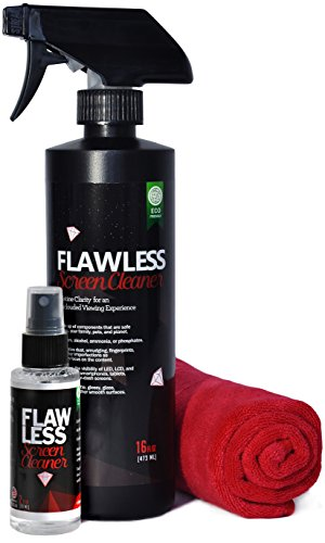 Screen Cleaner - 16 Oz Spray Bottle with 2 Oz Mini Travel Sprayer & Microfiber Cloth by Clean Flawless | LCD, LED, HDTV Displays | Streak Free, Fast Drying, Solution for Gadgets and Electronics