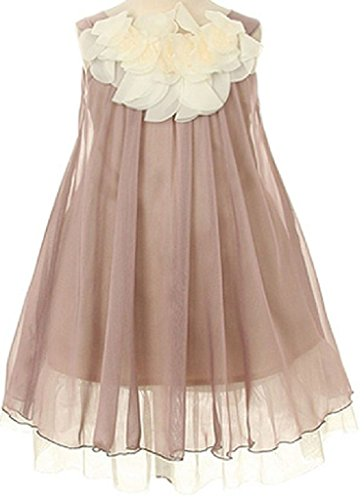 Lovely Chiffon Ruffled Flower Neckline Big Girl Special Occasion Dresses (28K4D) Mocha (Mocha Satin A-line)