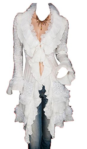 Oberora Women Open Front Lace Ruffles Long Sleeve Solid Knitted Cardigan White OS