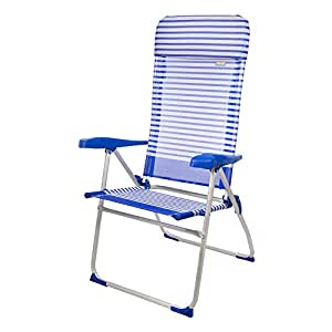 Aktive Garden 53982 - Silla Plegable Aluminio con Cojín 67 x 64 x 118 cm, Beach, 7 Posiciones