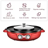 2200W 2 in 1 Electric Smokeless Grill and Hot Pot