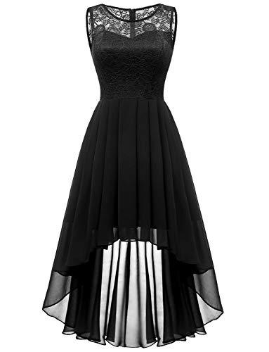 Dressystar 0038 Sleeveless Hi-Lo Lace Bridesmaid Dress Formal Prom Dress L Black (Black Lace Chiffon Dress)