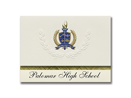 Signature Announcements Palomar High School (Chula Vista, CA) Graduation Announcements, Presidential style, Elite package of 25 with Gold & Blue Metallic Foil seal ()
