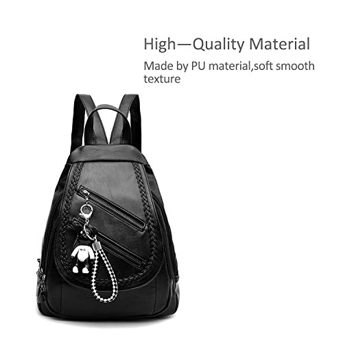 Amazon.com | NICOLE&DORIS Classic Fashion Schoolbag Travel Backpack Women Shoulder Bag Daypack Satchel Girls PU Leather Black | Backpacks