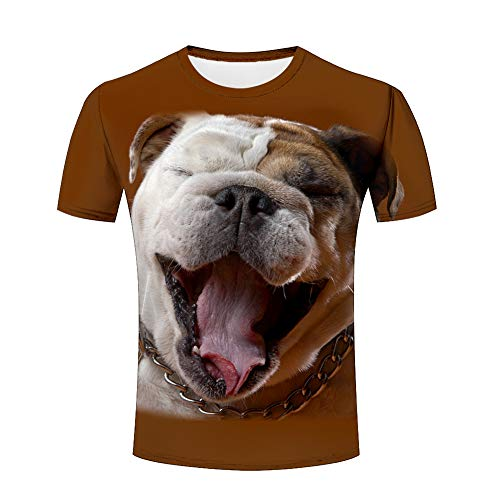 Men 3D Animal Printed T-Shirts Cute Pug Shar Pei Dog Cool Graphic Brown Casual Short Sleeve Fashion Shirts O-Neck Tees XXL