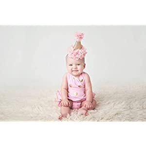 Posh Peanut Beautiful Baby Crown Headband Princess First Birthday Cone Hat Gold and Blush Pink Made in the USA