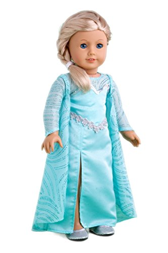 Snow Queen - Long turquoise dress with sparkling cape and silver shoes - 18 Inch Doll Clothes (doll not included) - Snow Queen Gown And Cape