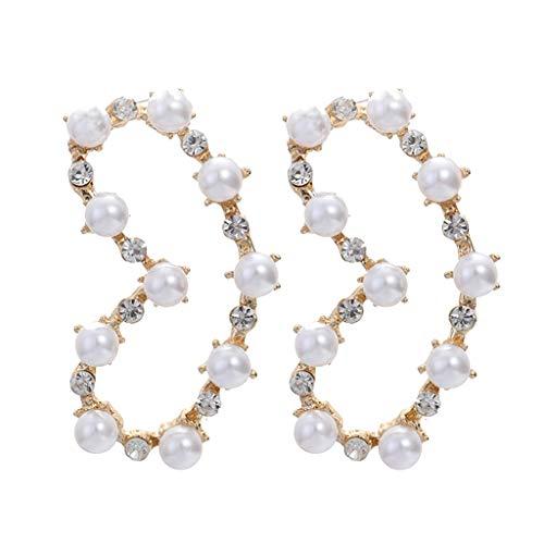 Voberry Luxury Vintage Baroque Wind Diamond Pearl Love Earrings Women's Party Jewelry