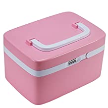Locking Medicine Cabinet, EVERTOP Household First Aid Kit Locking Prescription Pill Case Storage Box with Compartments for Jewelry Cosmetics Cards Essential Oils Arts Crafts Medical Supplies, Pink