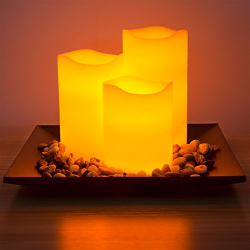 Flameless Candles Set Classic Ivory Real Wax Pillar Battery Operated Candles LED Candle Tray Home Decoration Safe Flickering Dancing Flameless Candles(H4'' 5'' 6''),Sets of 3 with Tray & Rocks Pebble by CHARAVECTOR (Image #1)