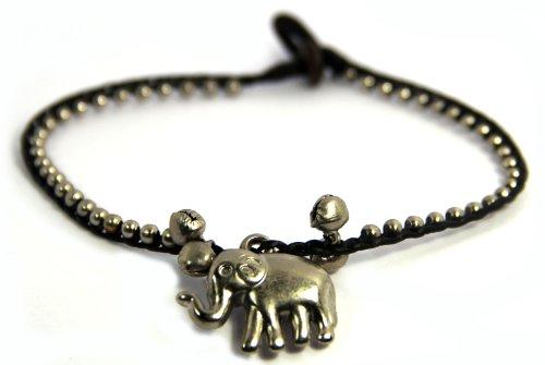 Handmade Anklet, Cotton Wax Cord, Bohemian, Elephant , Brass Beads (S5155)