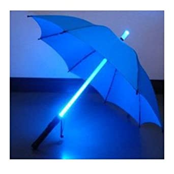 LED Light Umbrella  Blue With Blue Lighted Rod