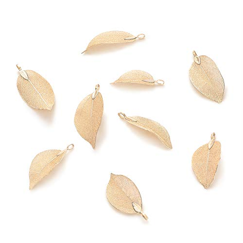 - Panadhall 10pcs Large Hole Natural Real Filigree Leaf Pendants Charms 1.97~3.15x0.79~1.38 Inch with Light Gold Plated Iron Bail for Necklace Jewelry Making
