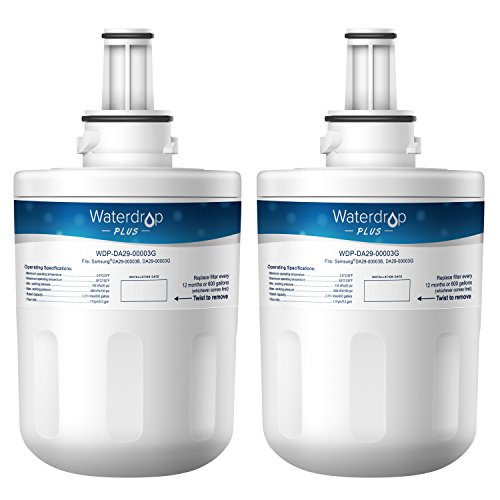 Waterdrop Plus DA29-00003G Refrigerator Water Filter, Compatible with Samsung DA29-00003G, Aqua-Pure Plus DA29-00003B, HAFCU1, DA29-00003A, Reduces Lead, Chlorine, Cyst, Benzene and More, NSF 401&53&42 Certified, Pack of 2
