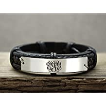 Stainless Steel Monogram Bracelet, Custom 3 Initial monogrammed Gift, Nameplate Engraved, Silver Metal Black Leather Braided Cuff, Gift for Him