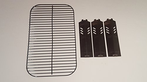 (Set of Porcelain Steel Wire Cooking Grid Replacement and Three Heat Plates for Gas Grill Model Backyard Grill BY13-101-001-11)