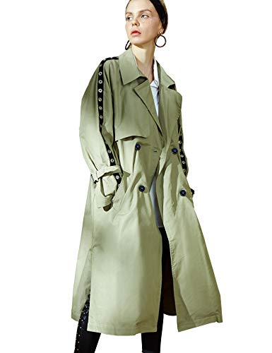 (Elf Sack Women Double-Breasted Long Trench Coat with Belt, Long Sleeve Turn Down Collar Parka Pea Coat)