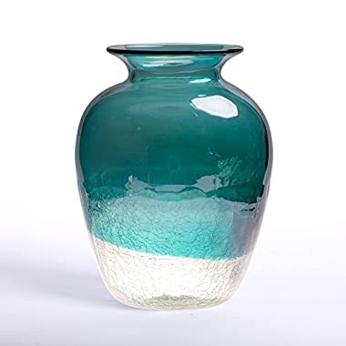 Glitzhome Handblown European Classical Tabletop Glass Vase 9.06 Inch, Turquoise