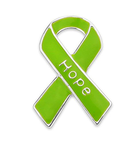 Awareness Ribbon Green Brooch - Autism Awareness Shop Lymphoma/Muscular Dystrophy Lime Green Ribbon Hope Pin