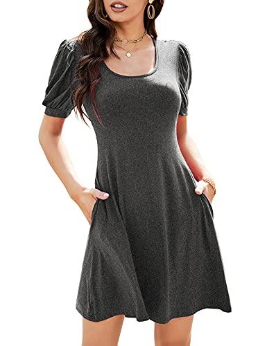 ROMANSTII 여성 캐주얼 티셔츠 드레스 퍼프 짧은 느슨한 미니 비치 스윙의 변화 드레스 주머