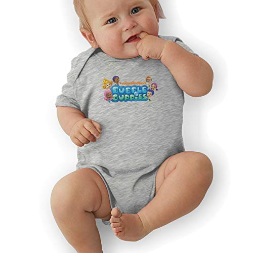 Baby Boy Bodysuits, Bubble Guppies Logo Baby Boys' Cotton Bodysuit Baby Clothes Gray