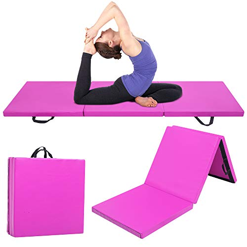 XMYANG Gymnastics Mats for Home, Tri-fold Gymnastics Folding Mat with Carrying Handles, Gymnastics Tumbling Yoga Exercise Pad