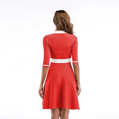 Schleife Rundkragen Sommerkleid A Langearm Oudan Damen Strickkleid Linie Knielang Schwingekleid Mid Rot Alltagkleid qOaYXgw