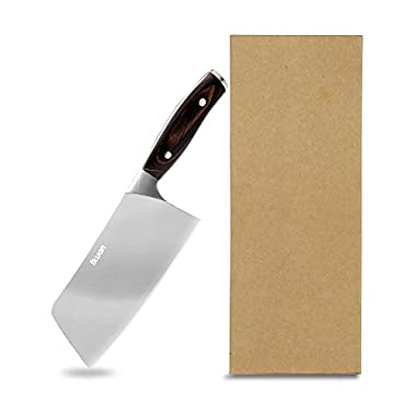 1Kuan 6.5 inch Vegetable Cleaver Stainless Steel Multipurpose Fruits Meat Cutter/Chopper/Butcher Professional Chef Knife for Home Kitchen