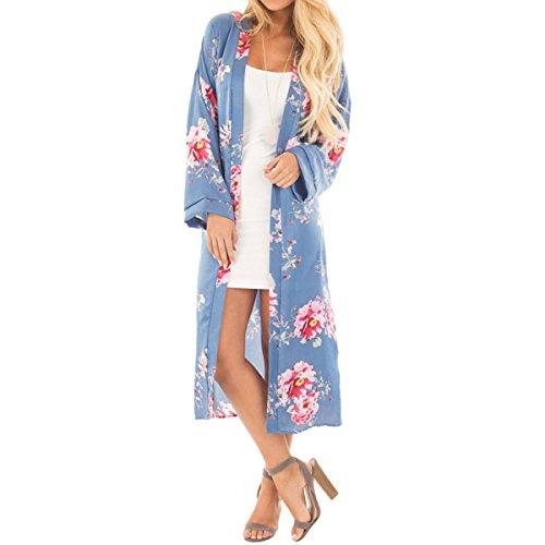 femme manches de Kimono longues Womens maillot en soie Cardigan Chemise QHDZ mousseline Sky de couvrir Blue Imprimer Long l'automne bain Floral longue YnHXxxqIv