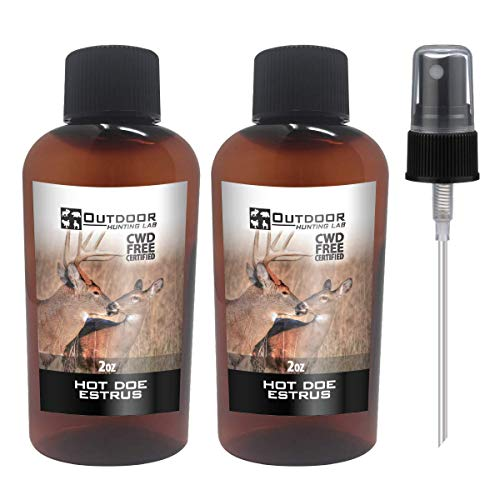 Outdoor Hunting Lab Hot Doe Estrus Buck Attractant Whitetail Lure Hunting Scent Natural Urine Deer Pee Heat (2 Bottle)