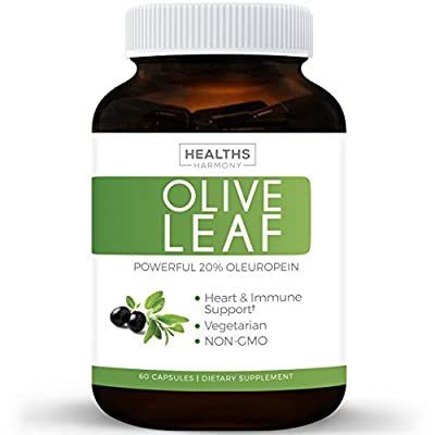 Best Olive Leaf Extract (NON-GMO) Super Strength: 20% Oleuropein - 750mg - Vegetarian - Immune Support, Cardiovascular Health & Antioxidant Supplement - No Oil - 60 Capsules