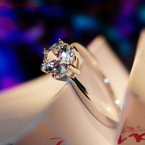 5 ct White Sapphire Claw Ring 10KT White Gold Filled Wedding Rings Band Size5-12#by pimchanok shop (6) (Lab Ring Sapphire Created)