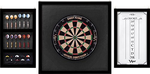 Viper Championship Wood Framed Dartboard Backboard Set, Mahogany Finish (Bristle Dartboard Wood Cabinet)