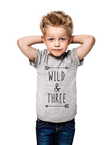 Wild & Three - Cool Boho Birthday Shirt 3rd Age 3 Three Year Old Toddler Shirt (4T Toddler Shirt, Heather Grey) by cuteandfunnykids (Image #4)'