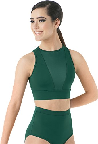 Balera Top Girls Crop Top For Dance Womens Sleeveless Tank With Mesh Plunge Fully Lined Forest Child Large