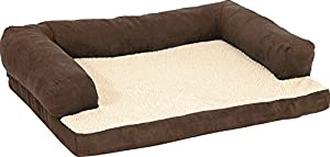 """Aspen Pet Bolstered Ortho Pet Bed, 40 x 30"""", Assorted Blue/Brown"""