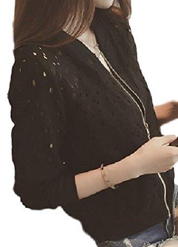 [ニブンノイチスタイル] 1/2style 白 黒 長袖 透け感 レース ショート 丈 カーディガン トップス レディース