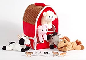 Unipak 12 Plush Red Barn Playset With 5 Stuffed Farm Animals Lamb Pig Cow Gray Horse And Brown Bonus Animal Figures