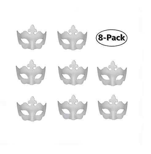 (Pannow 8PCS DIY White Mask, Paper Half Face Opera Masquerade Mask Plain Mask Halloween Mask Mardi Gras)