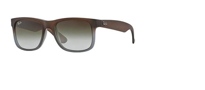 Ray-Ban RB4165 Justin Unisex Rectangular Sunglasses (Rubber Brown On Grey Frame/Green Gradient Lens 854/7Z, 55)