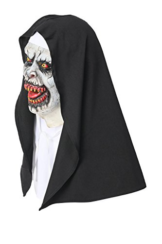 xcoser The Nun Mask with Hood for Adult Scary Horrible Halloween Mask