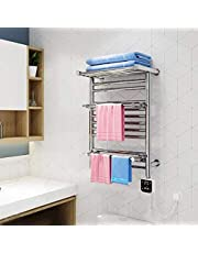 ZKS-KS Plug-in Straight Towel Warmer, With intelligent thermostat Electric Heated Drying Racks for Bathroom Stainless Steel Towel Rack
