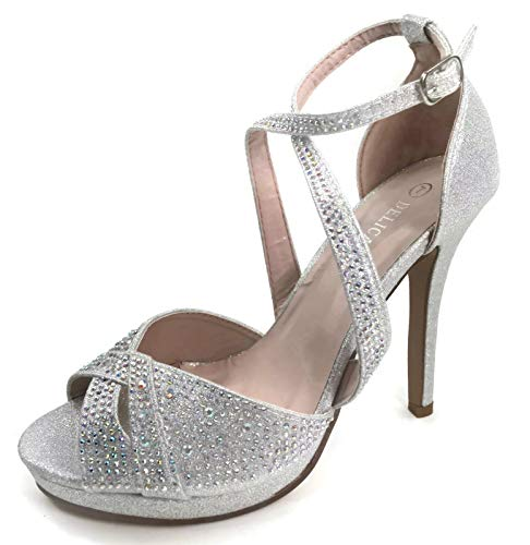 Womens Womens Strappy Rhinestone Dress Sandal High Heel Shoes, Silver, 5 ()