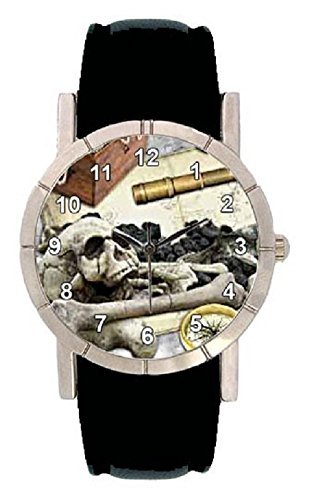 Pirate Skull Dog Photo Design Watch with Leatherband