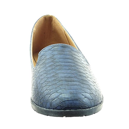 Sopily - Zapatillas de Moda Bailarinas Tobillo mujer piel de serpiente Talón Tacón ancho 1 CM - Azul