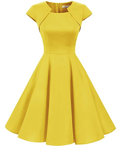 Satin Vintage Cocktail Dress - Homrain Women's 1950s Retro Vintage A-Line Cap Sleeve Cocktail Swing Party Dress Yellow XL